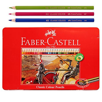 Faber Castell Classic Color Pencils Tin Case 36 Color School,Eco pencil for professionals include classic gold
