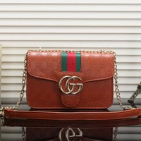 Gucci Fashionable Women Shopping Leather Metal Chain Shoulder Bag Crossbody Satchel Brown