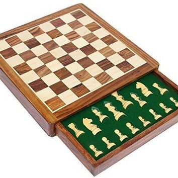 Wooden Chess Set With Felted Storage, Brown And Beige By Benzara