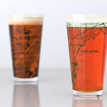 Coral Gables, FL - University of Miami - College Town Map Pint Glass Set