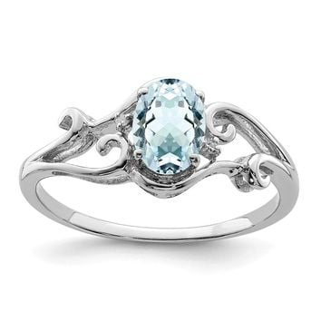 925 Sterling Silver Rhodium Plated Diamond and Aquamarine Oval Ring