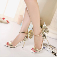 Summer Fashion Women Multicolor Stitching Flying Wing Sandals Buckle Band Heels Shoes