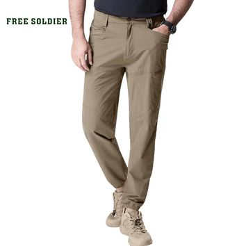 FREE SOLDIER outdoor sports camping climbing tactical military slim fit pant for men summer breathable cropped pants