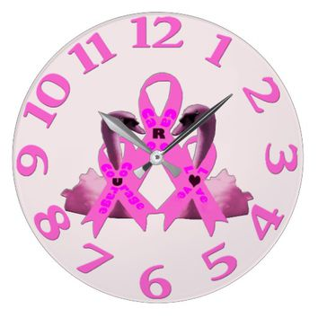 Care Courage Love Pink Swans Large Clock