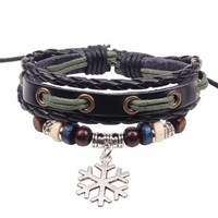 Snowflake Frozen Snow Silver Bead Charm Pendant on Handmade Leather Infinity Bracelet