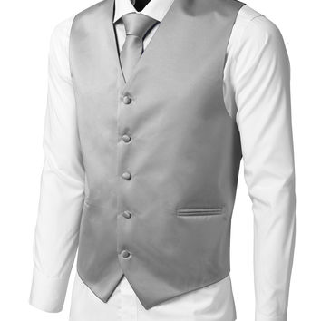 LE3NO Mens Tailored Button Down Vest with Stretch
