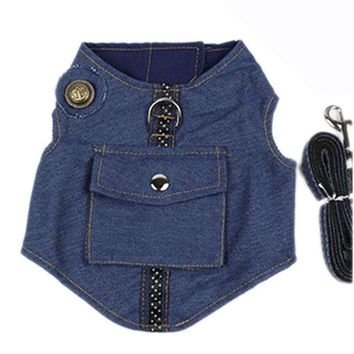 Trendy Small Dog Cat Jeans Jacket Harness Adjustable No Pull Pet Denim Vest Harness with Matching Leads Leash Set Small Medium Large AT_94_13