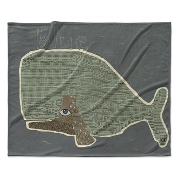 "Bri Buckley ""Blue Whale"" Blue Green Fleece Throw Blanket"