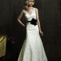 2011 Allure Bridal - Fitted Lace Gown With Scalloped Neckline And Matching Taffeta Sash- 2 to 32 - Unique Vintage - Bridesmaid & Wedding Dresses