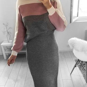 Gray Contrast Cotton Long Sleeve Top And High Waist Maxi Skirt