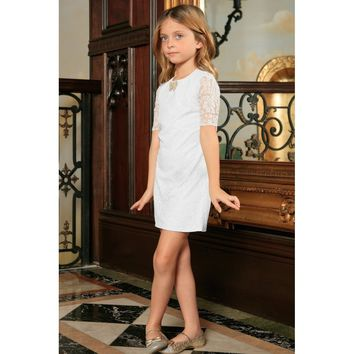 White Stretchy Lace Sleeved Holiday Fancy Party Shift Dress - Girls