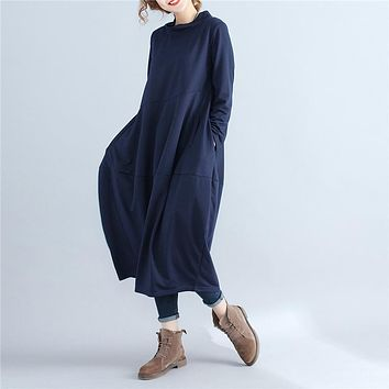 Large Size Women Turtleneck Pullover Loose Dress Female Spring Autumn Long Sleeve Casual  Vintga Cotton Linen Soft Robe Dresses