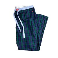 Savannah Lounge Pants in Navy and Green Tartan by Southern Marsh