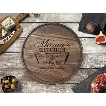 Personalized Engraved Round Cutting Board, Walnut Wood - CB16