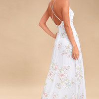 Blooms for You Light Blue Floral Print Maxi Dress