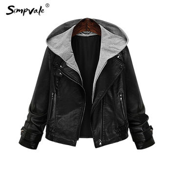 SIMPVALE Hooded Leather Jacket Women New Fashion Autumn Zipper Black Casual Vintage Locomotive Coats