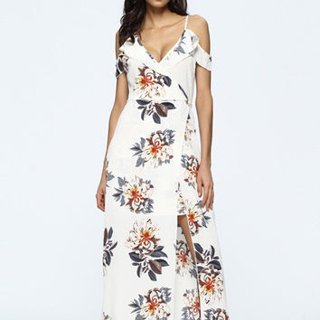 Sexy Floral Print Cold Shoulder Split Tie V-neck Maxi Dress For Women