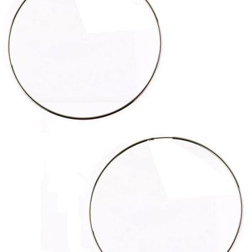 Sliver Endless Wire Hoop Earring