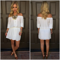 Light Up My World Off Shoulder Dress - White