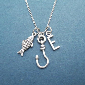 Personalized letter, Hooked on you, Fish, Hook, Personlaized, Letter, Initial, Necklace, Fishing, Hook, Love, Best friend, Gift, Jewelry