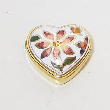 Vintage Pill Box, Enamel Flower Design, Gold Tone, Hinged, Dividers, Removable Tray, Heart Shaped, Gold Accent, Butterfly