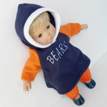 "american made bitty baby clothes, doll & 15"" twin Football Chicago hoodie Navy Blue sweatshirt Dress orange 2 p adorabledolldesigns handmade"