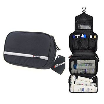 Travelmall Travel Toiletry Bag Business Toiletries Bag for Men Shaving Kit Waterproof Compact Hanging Travel Cosmetic Pouch Case for Women Christmas Gifts Black