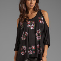 Lauren Moshi Macy Mini Color Rose Oversized Open Shoulder Top in Black from REVOLVEclothing.com