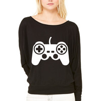 Game pad controller WOMEN'S FLOWY LONG SLEEVE OFF SHOULDER TEE