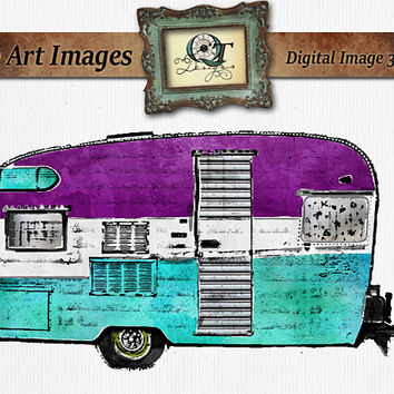 Watercolor Gypsy Camper   png images with transparent background, high resolution 300 dpi, Vintage Trailor painting digital art