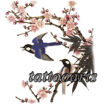Large pink japanese sakura flower bird body art tattoo painting temporary transfer makeup sticker #9585