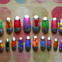 Japanese Nail Art- Lava Lamp Fake Nails