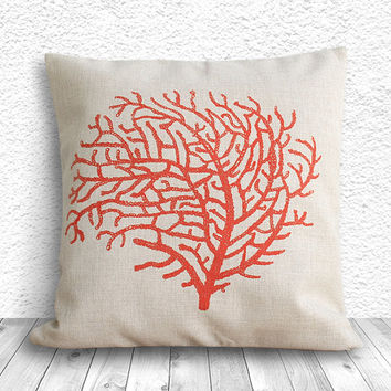 Pillow Cover, Botanical Pillow Cover, Coral Pillow Cover, Linen Pillow Cover 18x18 - Printed Coral - 096