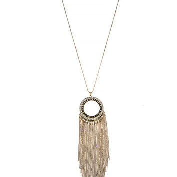 CRYSTAL RING BALL CHAIN FRINGE PENDANT NECKLACE