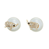 Double Sided Elephant and Pearl Earrings