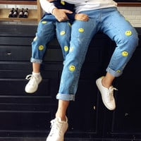 Maggie's Walker Family Matching Outfits Mother Daughter Clothes Kids Jeans for Children Smile Happy Pattern Cartoon Boys Pants