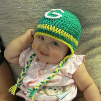 Crochet Ear Flap NFL College Highschool Football Hat Newborn Baby Toddler Kid Sports Greenbay Packers, OU, OSU Photo Prop Gender Neutral