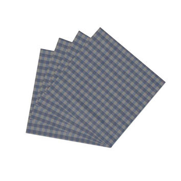 Blue & Ecru Gingam Checks Napkin Set of 4