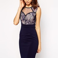 Little Mistress Sweetheart Pencil Dress with Lace Panels at asos.com