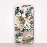 Tropical Floral Clear Phone Case-Transparent Case-Clear Case-Transparent iPhone 7-Clear iPhone 7 Plus-Gel Case - Soft TPU - iPhone SE