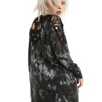 Black & Grey Tie Dye Skull Crochet Girls Cardigan