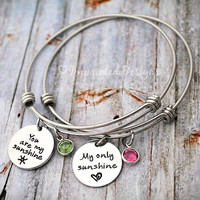 You Are My Sunshine - Alex And Ani Bracelet - Mother Bracelet - Personalized - Adjustable  - Layered - Set Of 2 - Mom - Grandma