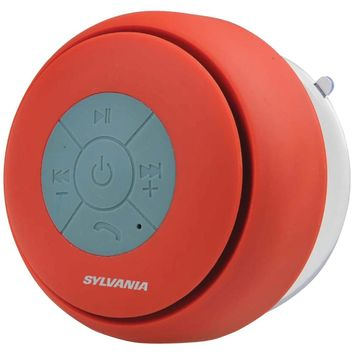 SYLVANIA(R) SP230-RED Bluetooth(R) Suction Cup Shower Speaker (Red)