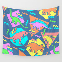 Nineties Dinosaur Pattern Wall Tapestry by Chobopop