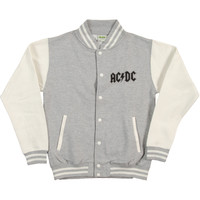 AC/DC Men's  For Those Varsity Jacket White & Grey Rockabilia