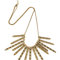 FOREVER 21 Tribal Print Matchstick Necklace Gold/Black One