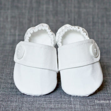 WHITE Christening shoes, Baptism shoes, baby boy shoes, fabric shoes, cloth shoes, white baby boy shoes