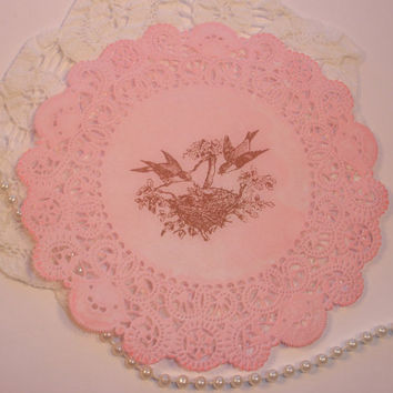 Paper Lace Doilies Bird Family Set of 8