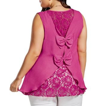 Plus Size Chiffon Back Lace Bowknot Embellished Tank Top
