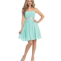 Mint Ruched Strapless Corset Chiffon Dress  2015 Prom Dresses